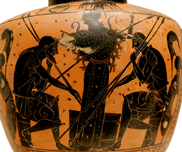 Achilles and Ajax playing a board game, depicted on the belly of an Attic black-figure hydria, ca. 510 BCE Source: Wikimedia Commons