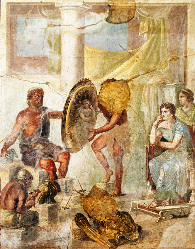 Fresco on plaster depicting Thetis at Hephaestos' forge waiting to receive Achilles' new weapons. ca. 75 - 100 CE. Provenance: Pompeii (IX I, 7, triclinium e) now in the Naples National Archaeological Museum. Source: Wikimedia Commons