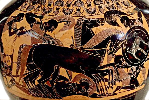 Achilles dismounts from his chariot to kill the fallen Eurymachus. Depicted on a Chalkidian black-figure psykter amphora, ca. 540 BCE. Source: Wikimedia Commons