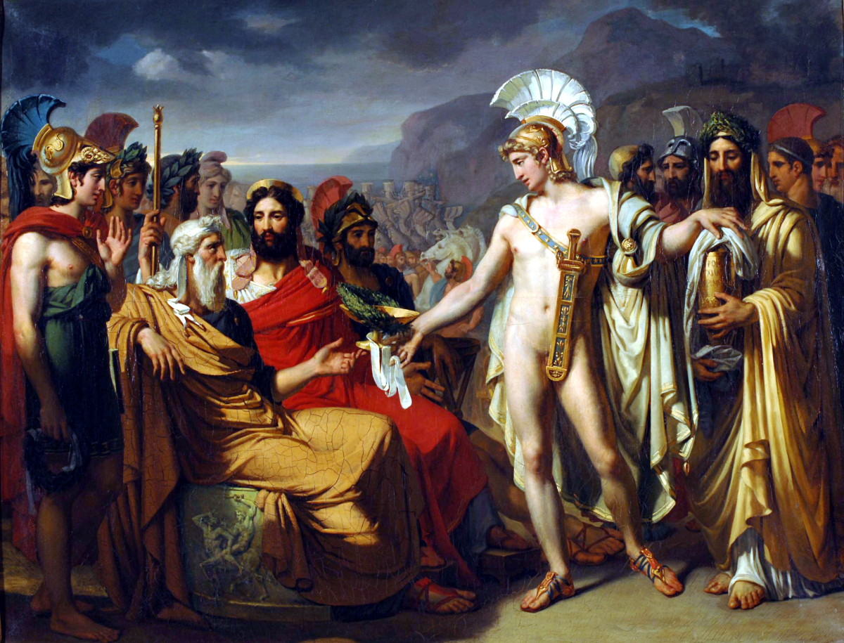 Achilles gives Nestor the prize for wisdom at the funeral games held in honor of Patroklos during the Trojan War. By Joseph-Désiré Court, ca. 1820. Source: Wikimedia Commons