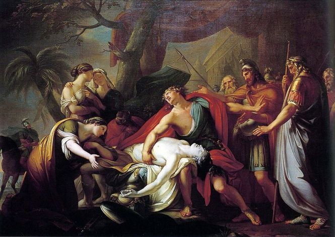 Achilles Mourning the death of Patroklos, ca. 1760-63 by Gavin Hamilton. Source: Wikimedia Commons