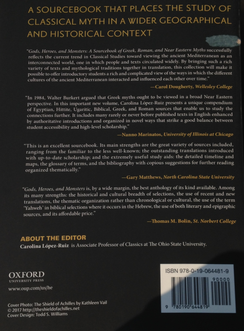 Vail's Shield of Achilles credited on the back cover of new book from Oxford University Press