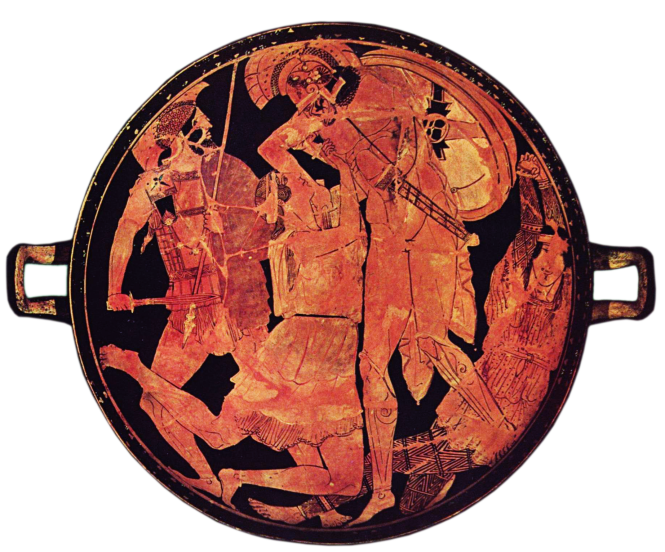 Achilles killing Penthesilea. Tondo of an Attic red-figure kylix, 470–460 BCE. Source: Wikimedia Commons