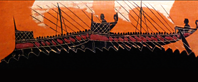 Attic Black-Figure Krater, ca. 6th cent. BCE depicting two ancient Greek ships. Source: Wikimedia Commons