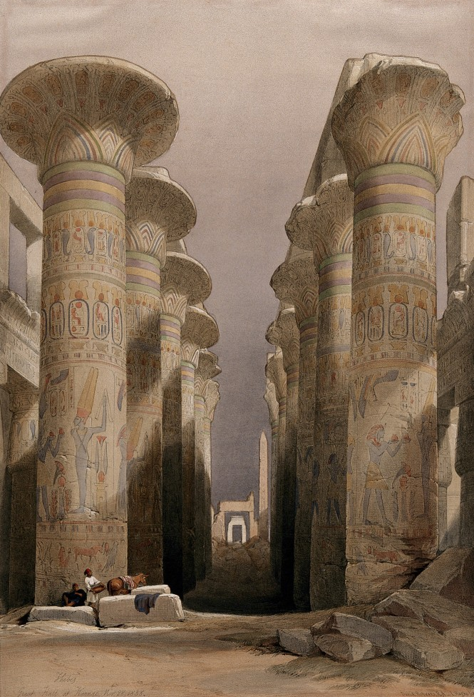 Decorated Lotus pillars of the temple at Karnak, Thebes, Egypt.