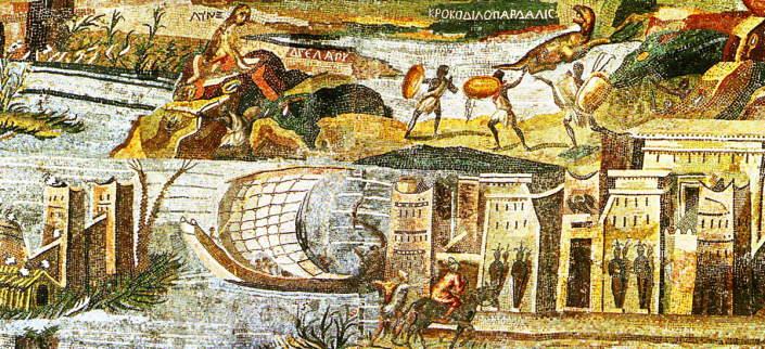 Detail from the Nile Mosaic of Palestrina. ca. 100 BCE. Source: Wikimedia Commons