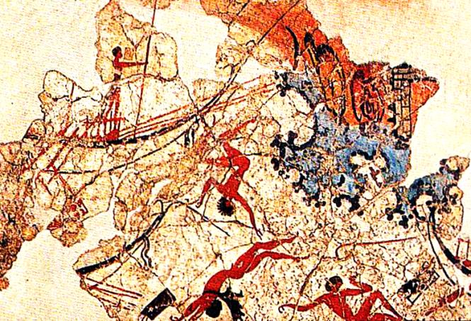 Detail of Akrotiri Shipwreck Fresco, ca. 1600 BCE. Source: Wikimedia Commons