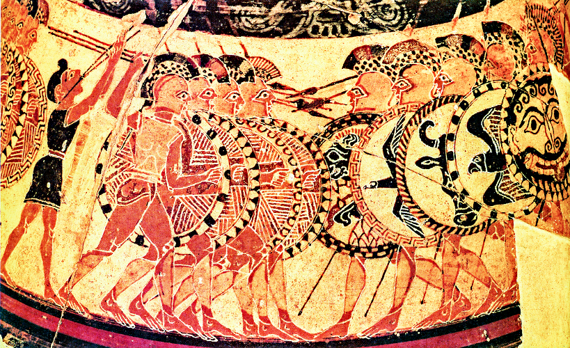 a ProtoCorinthian Olpe ca. 650-640 BCE by the Chigi Painter depicting a Hoplite phalanx. Source: Wikimedia Commons