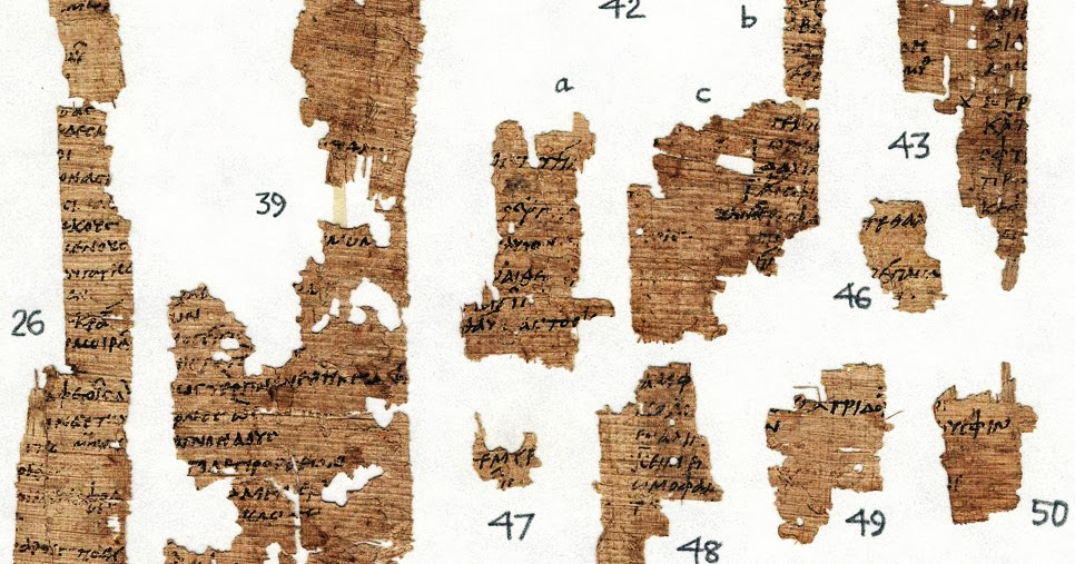 A fragment from Stesichorus written on papyrus, ca. 600 BCE. Source: