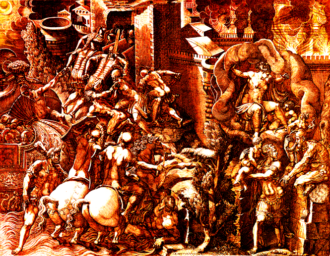The Fall of Troy and the Escape of Aeneas ca. 1540's by Giorgio Ghisi - Colorized by K. Vail. Source: Wikimedia Commons