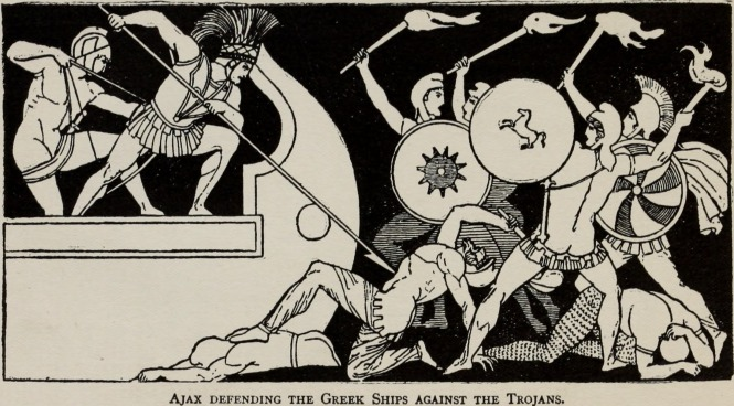 Ajax Defending the Greek Ships Against the Trojans - Illustration by Flaxman, 1911 from Church's The Story of the Iliad. Source: Wikimedia Commons