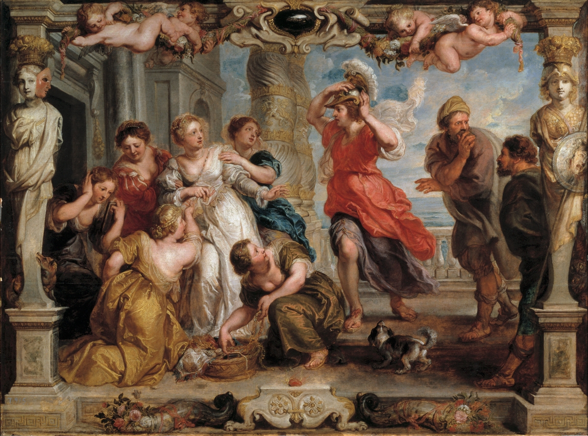 Achilles discovered by Ulysses among the daughters of Lycomedes - modello by Peter Paul Rubens. Source: Wikimedia Commons