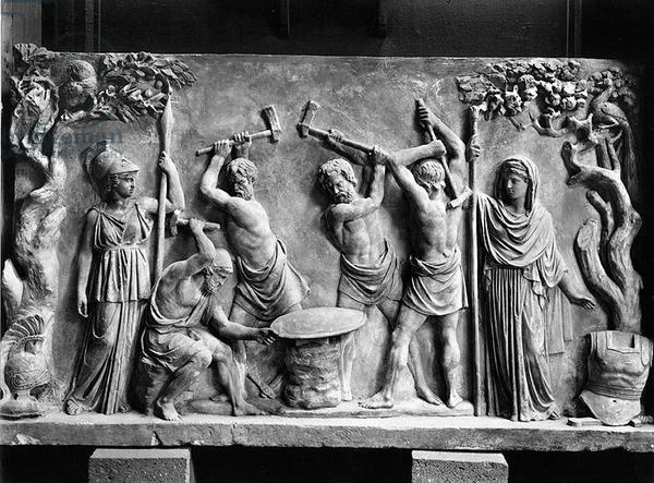 Hephaistos and Cyclops forging Achilles' shield for Thetis, Greco-Roman bas-relief marble, date unknown, from the Pinacoteca Capitolina, Palazzo Conservatori, Rome. Source: Alinari / Bridgeman Images (for non-commercial use only)