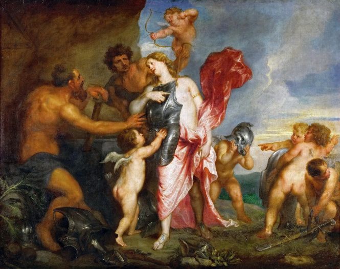 Thetis receives the weapons of Achilles from Hephaestus. Painting by Anthony van Dyck, ca. 1630-1632, now in the Kunsthistorisches Museum, Vienna, Austria. Source: Wikimedia Commons