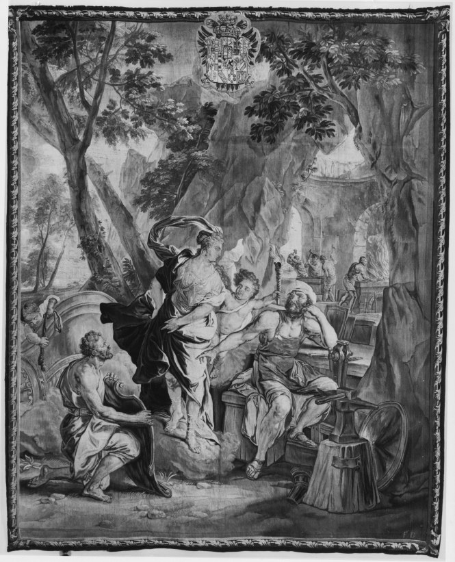 Thetis visiting the forge of Vulcan, Flemish tapestry from Brussels designed by Jan van Orley and woven by Gaspard, Pierre, and Franz van der Borcht, ca. 1740-1742. Source: Getty.edu
