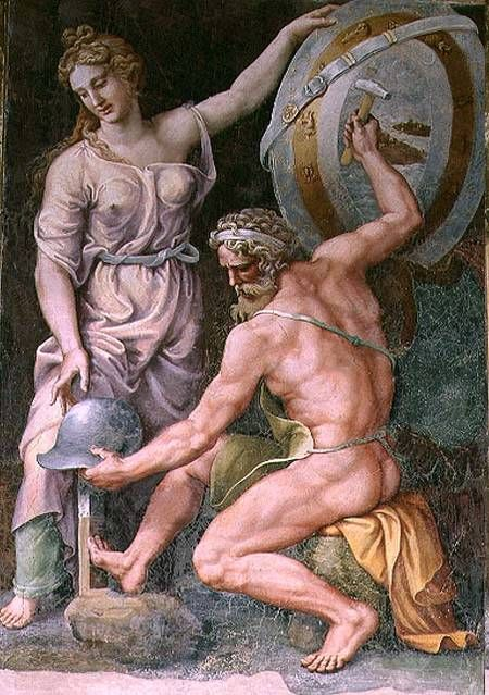 Hephaistos Forging Achilles' Armor, by Giulio Romano, ca. 1492-1546, from the Sala di Troia, Palazzo Ducale, Mantua, Italy. Source: Wikimedia Commons
