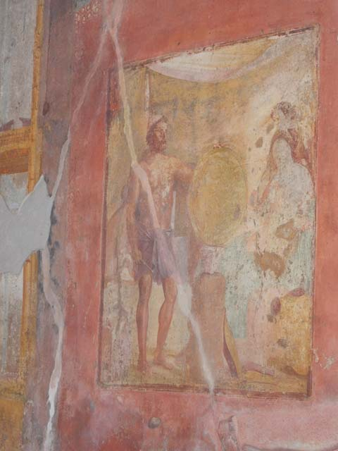 Thetis Receiving the Shield of Achilles, ca. 68 CE, restored fresco from the House of Vedius Siricus and Vedius Nummianus, Pompeii. Source: © Buzz Ferebee / Pompeiiinpictures.com