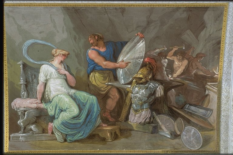 Vulcan Displaying Achilles' New Armor to Thetis, depicted on a wall painting in the Hall of Fame or Achilles Gallery, Palazzo Milzetti, Faenza, Italy, by Felice Giani, ca. 1802. Source: liceotorricelli.it