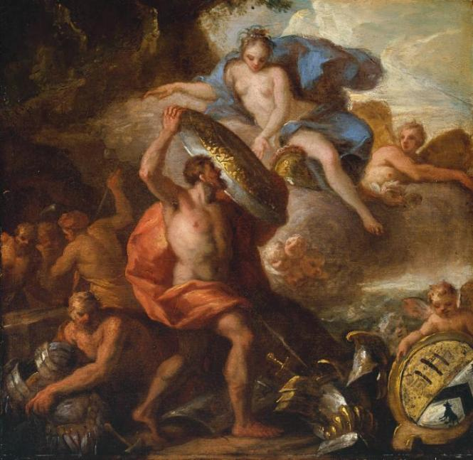 Thetis Accepting the Shield of Achilles from Vulcan, painting by Sir James Thornhill, ca. 1710. Source: © Tate.org.uk (for non-commercial use only)