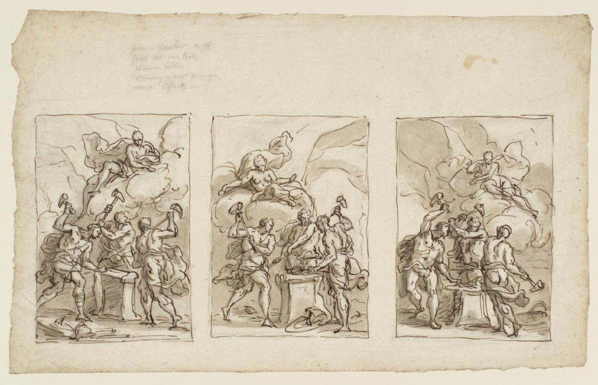 Three studies for Thetis in the Forge of Vulcan, Watching the Making of Achilles' Armour, pen and wash over pencil on paper, by Sir James Thornhill, ca. 1710. Source: © Tate.org.uk (for non-commercial use only)
