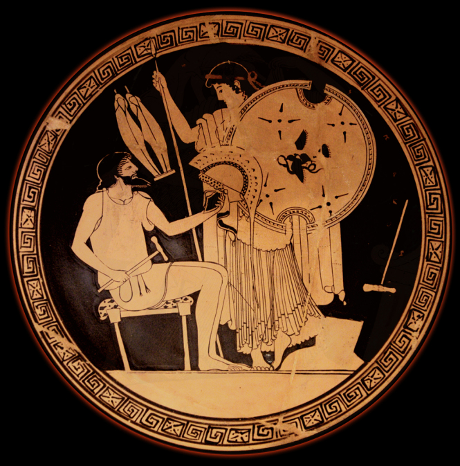 Hephaistos presents Achilles' new armor to Thetis. Attic Red-figure Kylix, ca. 490-480 BCE by the Foundry Painter. Source: Wikimedia Commons