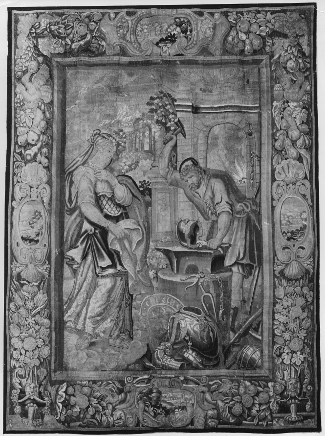 Thetis at Vulcan's workshop, watching him forge Achilles' new armor. Flemish tapestry from Brussels by unknown tapestry artist, ca. 1625-1650. Source: Getty.edu