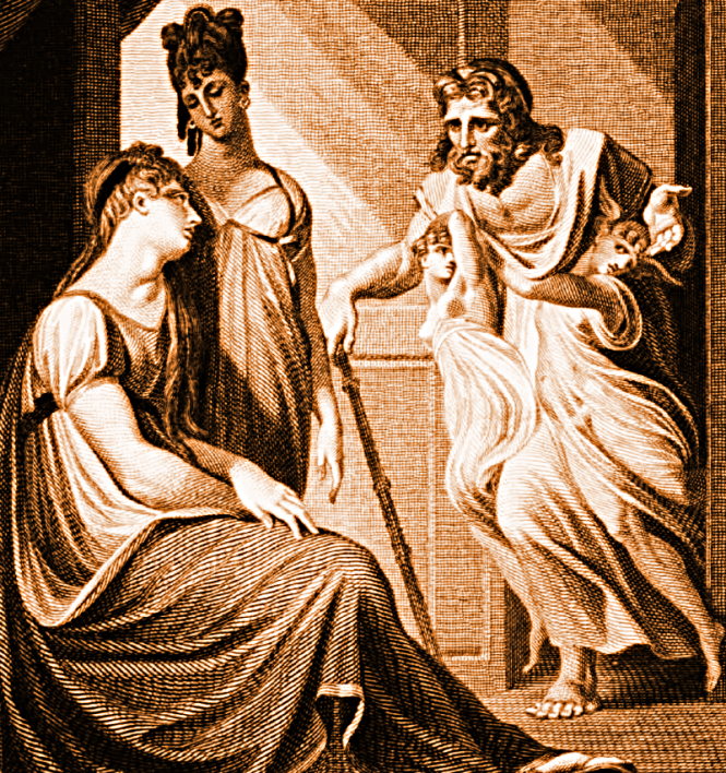 Thetis asking Hephaistos to forge new armor for Achilles, from Vignettes for Homer, by Edward Smith, engraver; Johann Heinrich Füssli (1741-1825), painter, London, FJ Du Roveray, 1 October 1805. Source: Wikimedia Commons