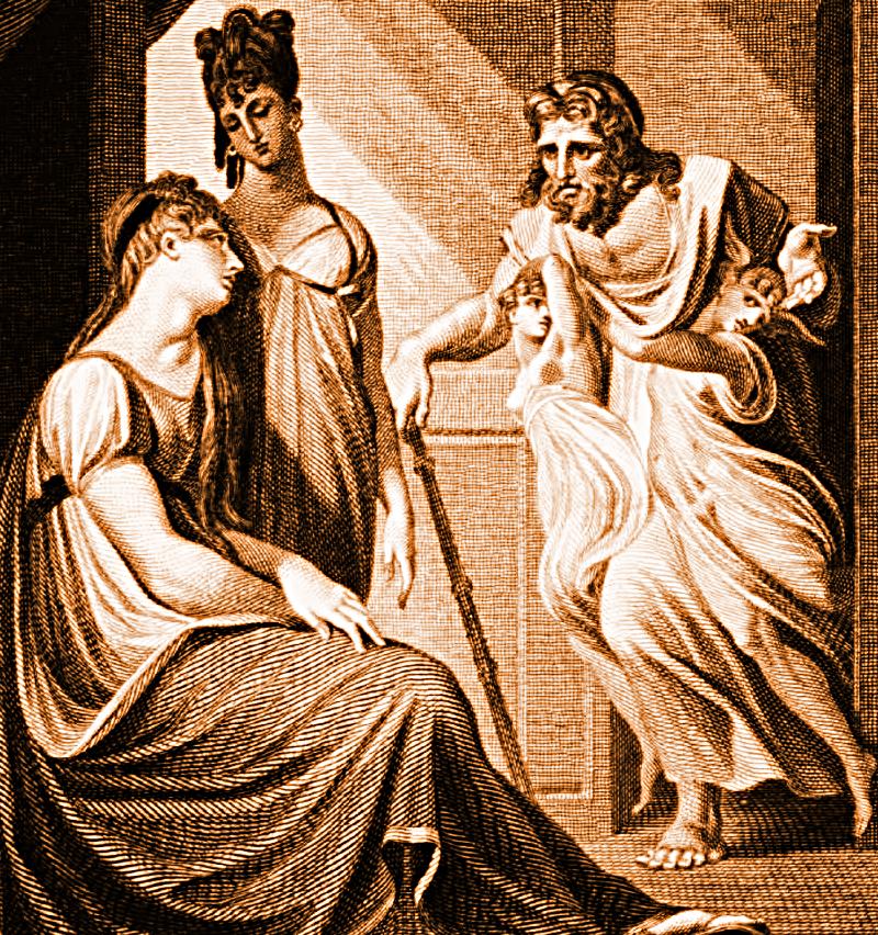 Thetis asking Hephaistos to forge new armor for Achilles, from Vignettes for Homer, by Edward Smith, engraver; Johann Heinrich Füssli (1741-1825), painter, London, FJ Du Roveray, 1 October 1805. Source: Wikimedia Commons