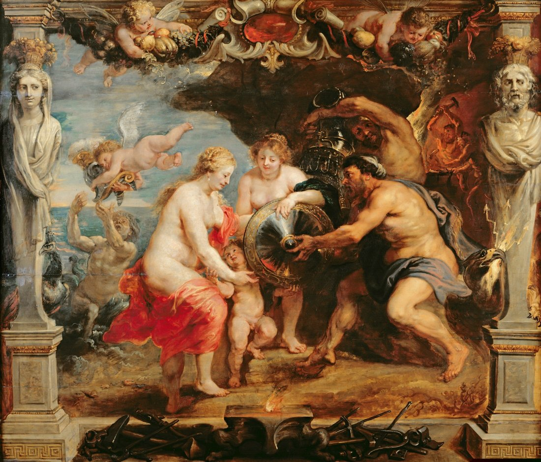 Thetis receiving Achilles' new armor from Hephaistos, oil painting modello for a tapestry in the Life of Achilles Series by Peter Paul Rubens, ca. 1635-1670. Source: Wikimedia Commons