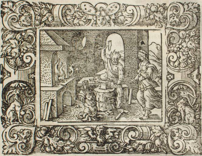 Vulcan forging weapons for Achilles, illustrated by Virgil Solis, ca. 1581 for P. Ovidii Metamorphosis XIII, 286-295. Source: latein-pagina.de