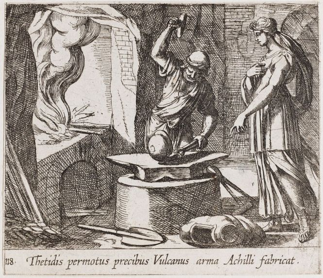 Vulcan creating Achilles armor for Thetis etching ca 1606 by Antonio Tempesta depicted in an illustrated copy of Ovid's Metamorphoses. Source: Harvard.edu (non-commercial use only)
