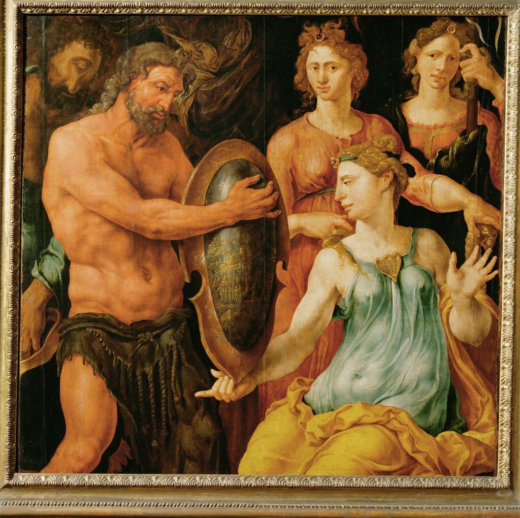 Vulcan hands Thetis the shield for Achilles, by Maarten van Heemskerck, ca. 1536. Source: Wikimedia Commons