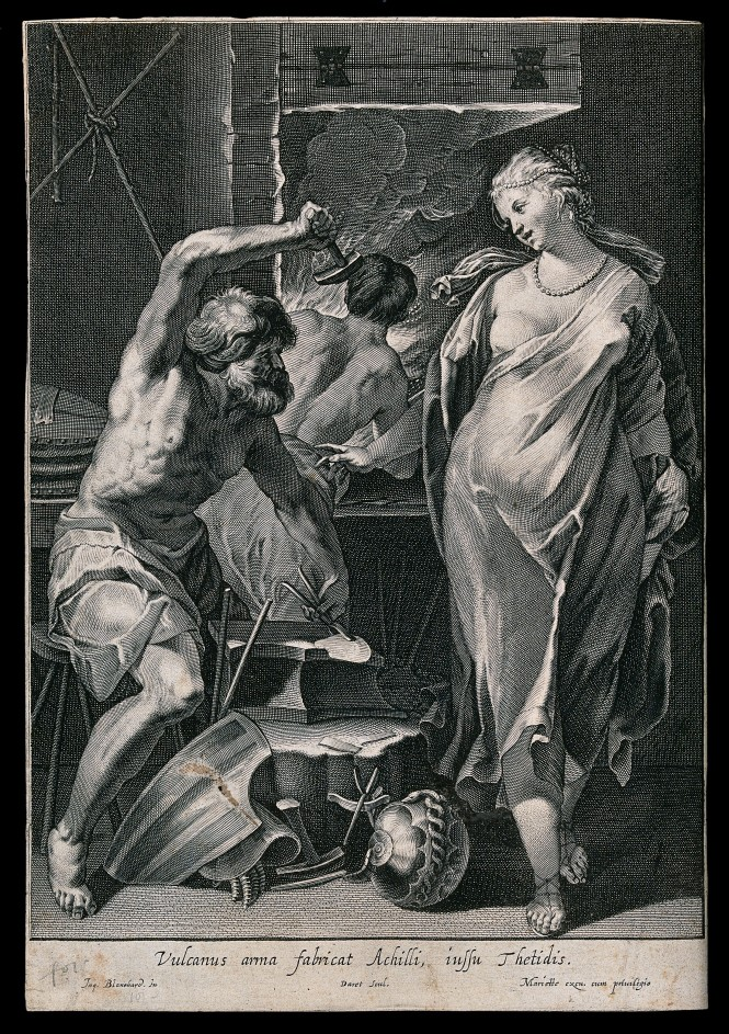 Vulcan hammering metal at his forge, overseen by Thetis in a flowing robe and pearls in her hair. Engraving by Pierre Daret de Cazeneuve, ca. 1663-1678, after an image by Jacques Blanchard. Source: Wikimedia Commons