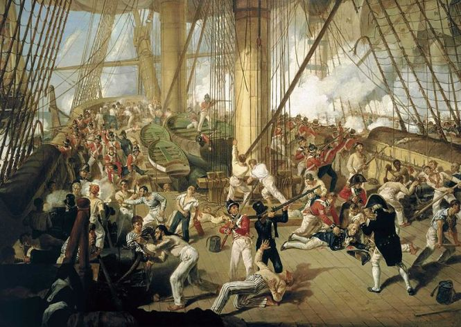 Painter Denis Dighton's imagining of Nelson being shot on the quarterdeck of HMS Victory. Source: Wikimedia Commons