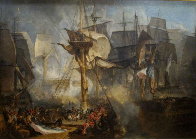 The Battle of Trafalgar, as seen from the starboard mizzen shrouds of the Victory. J. M. W. Turner (oil on canvas, 1806–1808). Source: Wikimedia Commons