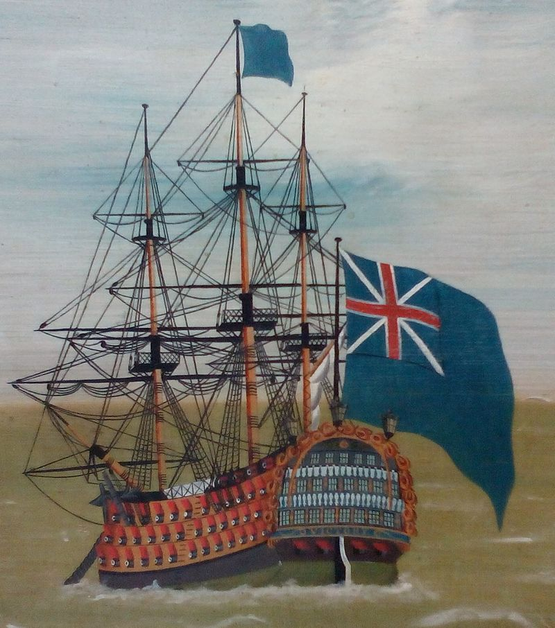 HMS Victory, flying the Blue Ensign (with the pre-1801 Union Jack), from The Fleet Offshore, 1780–90, an anonymous piece of folk art now at Compton Verney Art Gallery. Source: [CCSA 3.0] Neddyseagoon via Wikimedia Commons