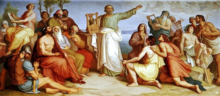 "Painting of ""Homer Among the Greeks"" by Gustav Jäger. The following image is of a mural at the Weimar Castle in Germany, which was completed in 1808 by painter, Gustav Jäger entitled, ""Homer Among the Greeks"" Source: Hadrian6 via 300SpartanWarriors"