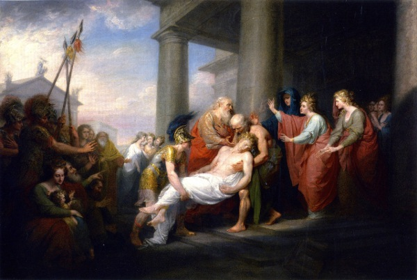 Priam Returning with the body of Hektor, by John Trumbull, ca. 1756-1843.