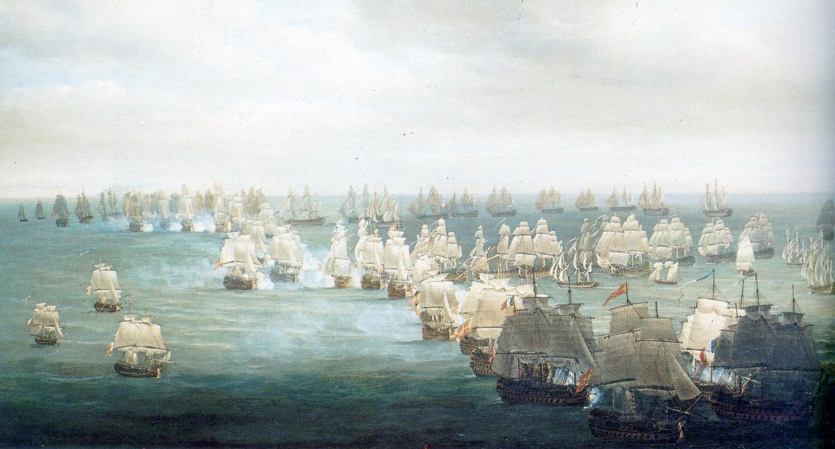 Painter Nicholas Pocock's conception of the Battle at Trafalgar at 1:00 pm. Source: Wikimedia Commons