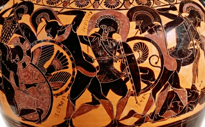 Chalkidian Black-figure Lidded Belly Amphora, ca. 540 BCE by the Inscriptions Painter, depicting battle scenes from the Trojan War. Source: National Gallery of Victoria, Melbourne, Australia via Wikimedia Commons [CC0]