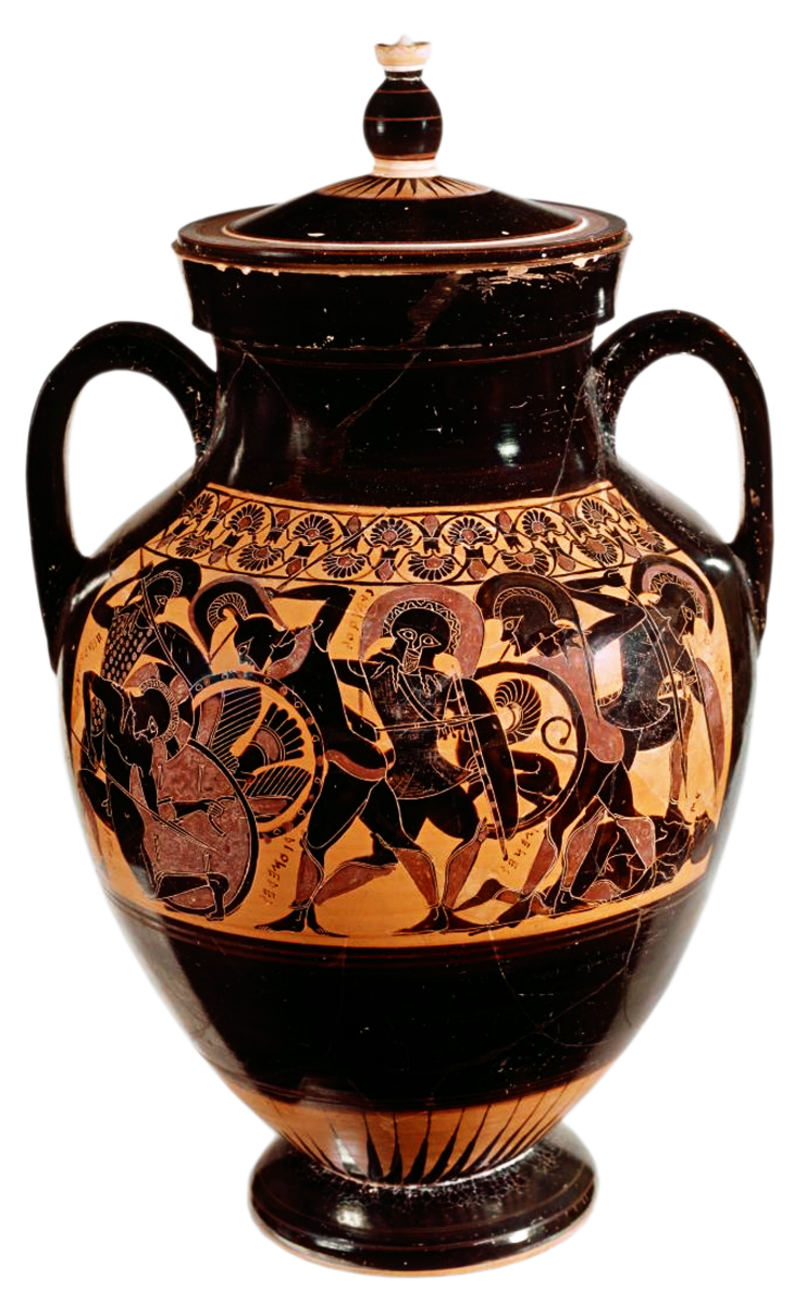 Chalkidian Black-figure Lidded Belly Amphora, ca. 540 BCE by the Inscriptions Painter, depicting battle scenes from the Trojan War.Source: National Gallery of Victoria, Melbourne, Australia via Wikimedia Commons [CC0]