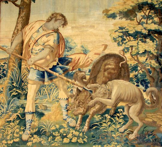 Modello for a Tapestry with Odysseus Hunting a Boar by a Brussels workshop, 17th century CE. Source: Wikimedia Commons