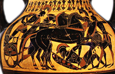 Attic Black-figure Amphora, Type B; depicting a battle scene with quadriga (4-horse chariot) by the Princeton Painter, ca. 500-490 BCE. Source: Vail/Met Museum of Art via Wikimedia Commons.