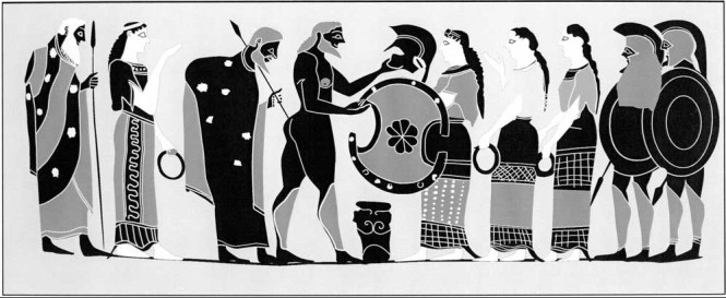 Thetis Presenting Achilles New Armor, Attic black-figure Column Krater attributed to Painter of London B76. Source: Drawing by Valerie Woelfel via CHS