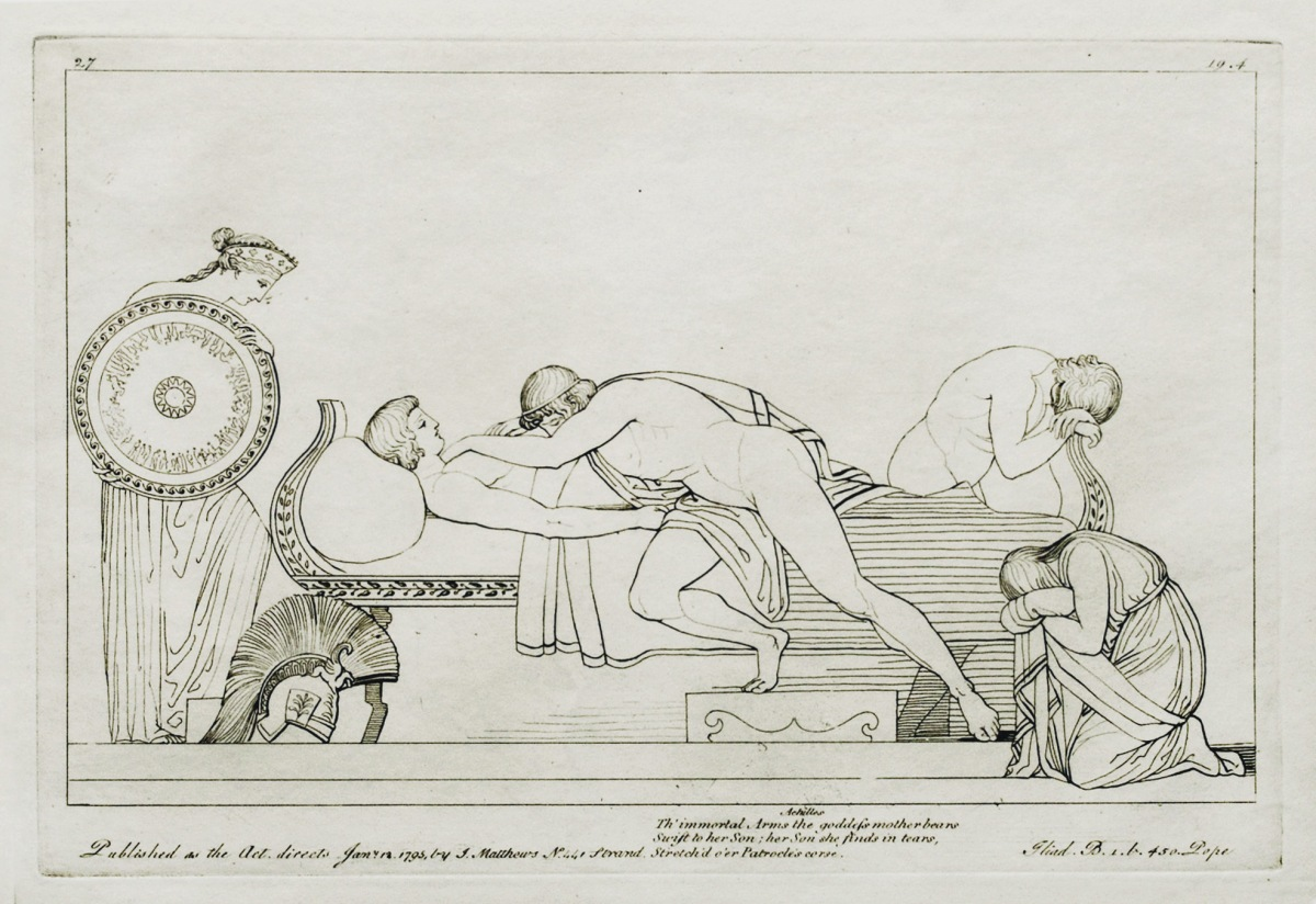 Thetis Delivers New Armor to Grieving Achilles. Copper engraving (1795) by Tommaso Piroli (1752 - 1824) after a drawing (1793) by John Flaxman (1755 - 1826). Source: CCSA 3.0 Haack/Vail via Wikimedia Commons