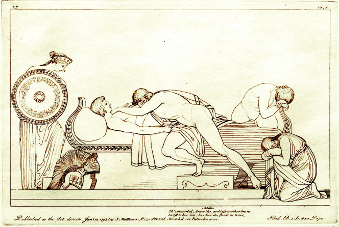 Thetis Delivers New Armor to Grieving Achilles. Copper engraving (1795) by Tommaso Piroli (1752 - 1824) after a drawing (1793) by John Flaxman (1755 - 1826). Source: CC0 via Wikimedia Commons