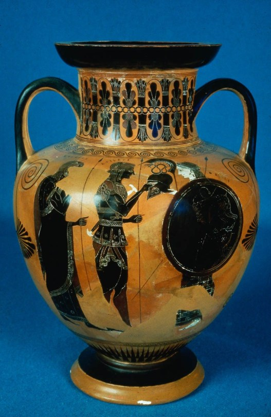 Thetis Bringing Armor to Achilles. Attic Black-figure Amphora by the Amasis Painter, ca. 520-515 BCE. Source: Non-Commercial use only. MFA Henry Lillie Pierce Fund © 2017 Museum of Fine Arts, Boston