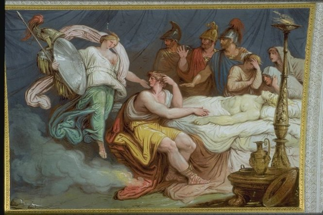Achilles Mourning Patroklos as Thetis Arrives With New Weapons, Ceiling Mural by Francesco and Gian Battista Ballanti Graziani. ca. 1802-1805. In the Galleria d'Achille, Palazzo Milzetti, Faenza, Italy. Source: CC0 via Wikimedia Commons