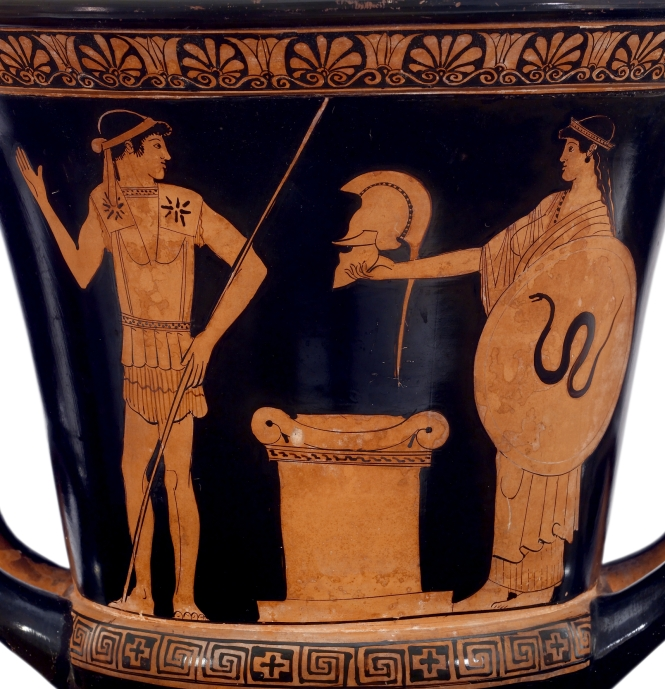 Achilles receiving his new armor from Thetis. Detail from a Red-figure Calyx Krater by the Altamura Painter, ca. 470-460 BCE. Source: CCSA 3.0 Walters Art Museum/Vail via Wikimedia Commons