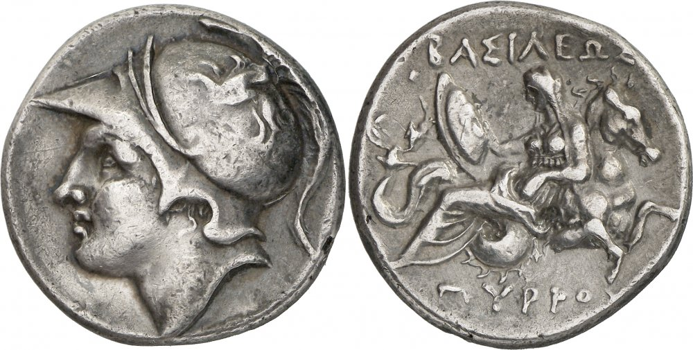 Ancient Greek Silver Didrachm, ca 297-272 BCE, from the Kingdom of Epirus, depicting the head of Achilles or Neoptolemos, representing King Pyrrhos. On the reverse, Thetis rides a hippocamp, delivering Achilles' shield. Source: sixbid.com